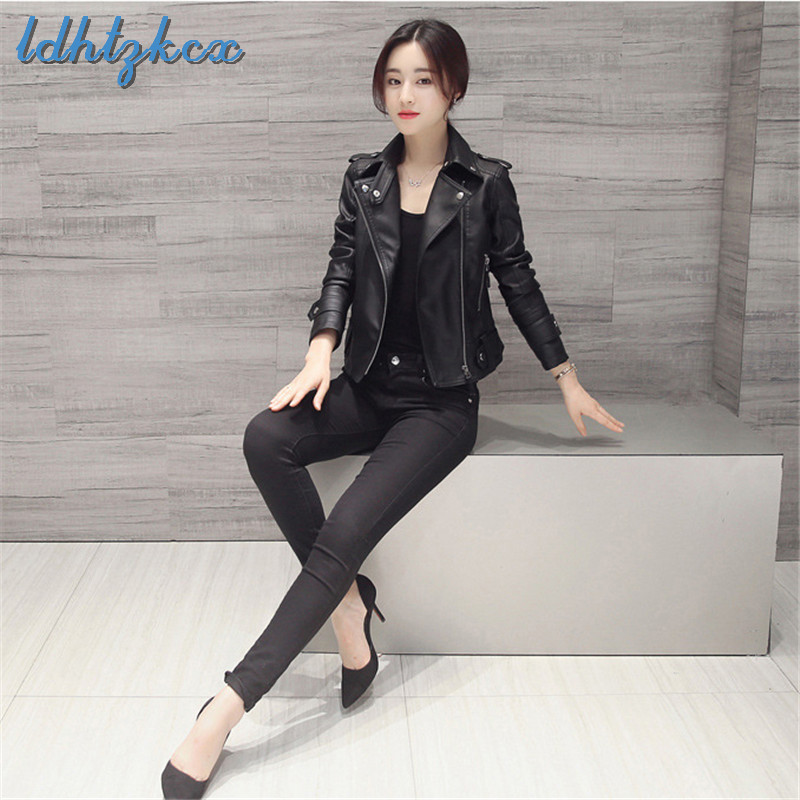 Faux   Leather   Jackets Office Lady Black Plus Size PU Coat Feminina 2018 Autumn Winter Korean Short Show Thin   Leather   Coats CX508