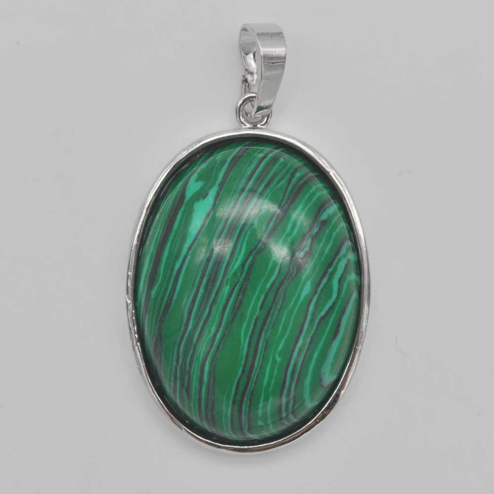 Green Malachite Stone Bead Oval GEM Pendant Jewelry For Gift S930