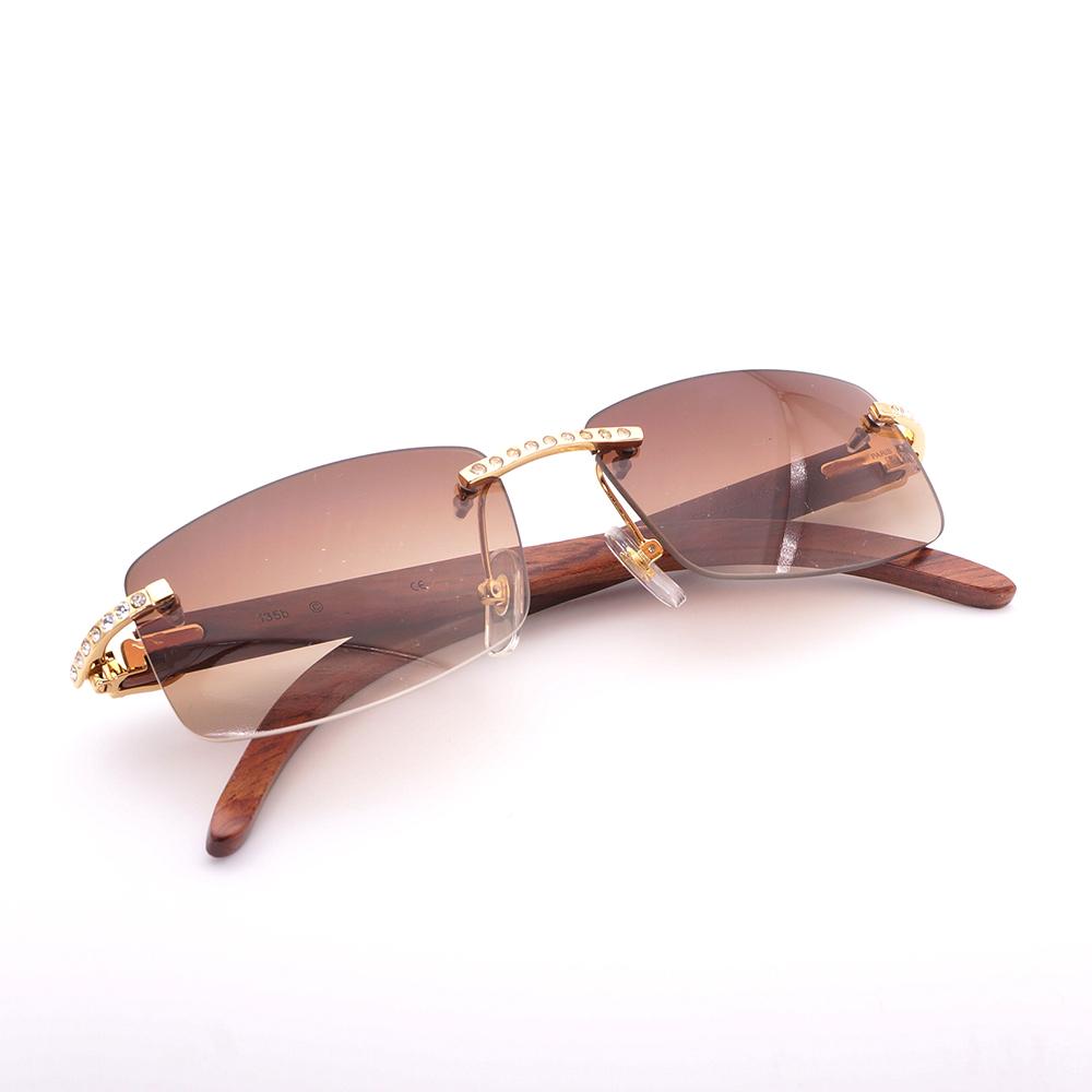 a84555b30f386 Luxury Rhinestone Black Mix White Buffalo Horn Rimless Sunglasses ...