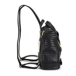 Image 3 - 有名なブランドの女性のバックパック革ブラックバックパックスクールバッグ十代の少女旅行バックパック女性のスーツの肩バッグ
