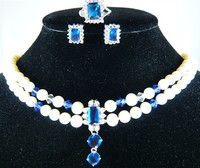 Hot Sell New Wholesale Nice Design 2rows Shell Pearl Jade Necklace Blue Crystal Stud Earrings Ring