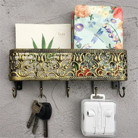 Utility Flower Pattern Maill Letter Card Holder with 5 Hooks Vintage Decoration Wall Rack for Key Coat Towel