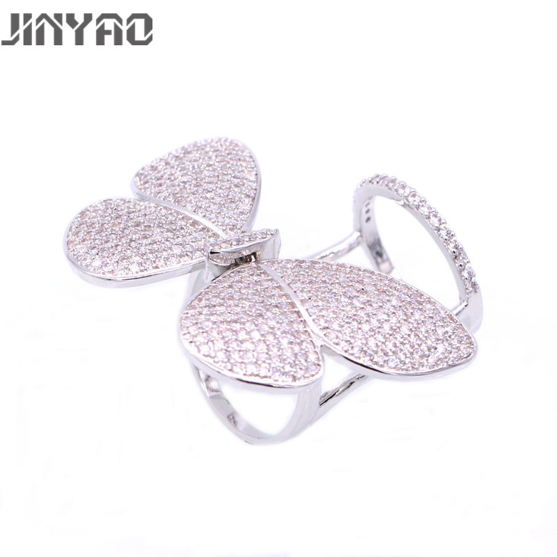 JINYAO Newest Fashion Women Jewelry Butterfly White Gold Color Bling Zircon Wedding Ring For Women Valentine's Day Gift