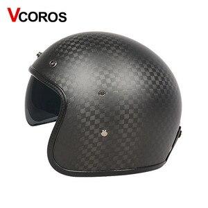 Image 4 - VCOROS Brand Carbon fiber Vintage motorcycle Helmet 3/4 Retro Motorbike helmet open face moto helmets ECE approved