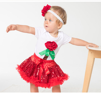 Free Shipping Wholesale Newest Toddlers Short Sleeve Red Flower Bodysuits Hair Band Bow Sequin Skirt 3pc
