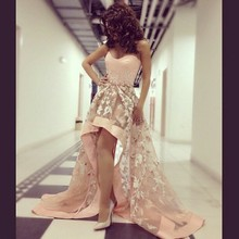 Myriam Fares Sweetheart with Appliques High Low Pink Evening Dress 2015 Vestido