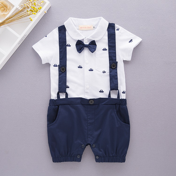 NºNew Born Baby Boy Clothes Cartoon Boat Printed Straps ...