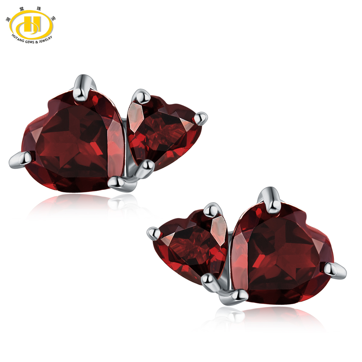 купить Hutang 2017 New Double Heart Natural Garnet Stud Earrings Solid 925 Sterling Silver Gemstone Fine Jewelry Anniversary Women Gift по цене 2852.5 рублей