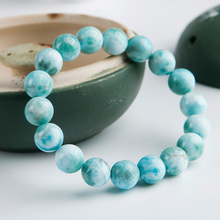 Genuine Natural Blue Larimar Gemstone Round Beads Bracelet 9mm Stretch From Dominica AAAAAA цена в Москве и Питере