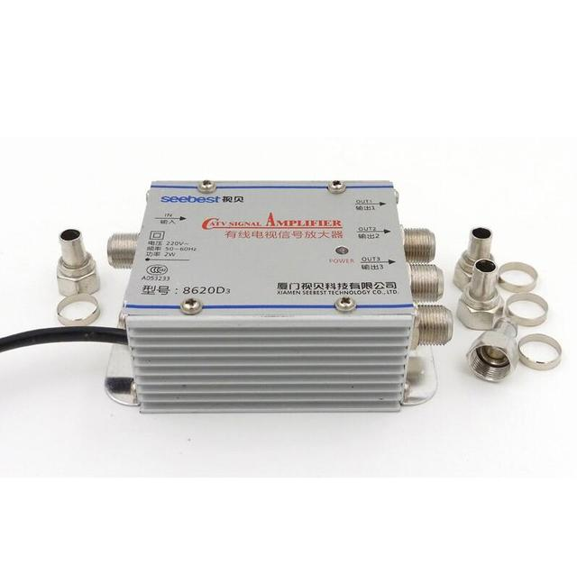 3 Way CATV Cable TV Signal Amplifier AMP Antenna Booster Splitter Set Broadband Home Tv Equipments 45Mhz to 860MHz