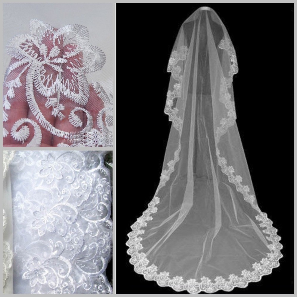 Winter-Direct-Selling-One-Layer-Applique-Edge-White-Female-Veils-Bridal-Veils