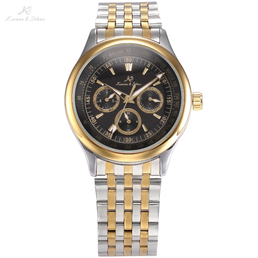 KS Brand Black Gold Date Day 24 Hour Display Full Steel Strap Relogio Masculino Automatic Self Wind Mechanical Men Watch /KS213 ks luxury automatic self wind date day 24 hours black 3 dial steel strap mechanical wrist watches mens gents timepieces ks307
