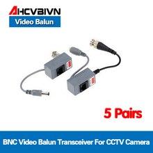 10pcs cctv 카메라 액세서리 오디오 비디오 balun 트랜시버 cat5/5e/6 케이블을 통해 오디오 및 전원 bnc utp rj45 비디오 balun