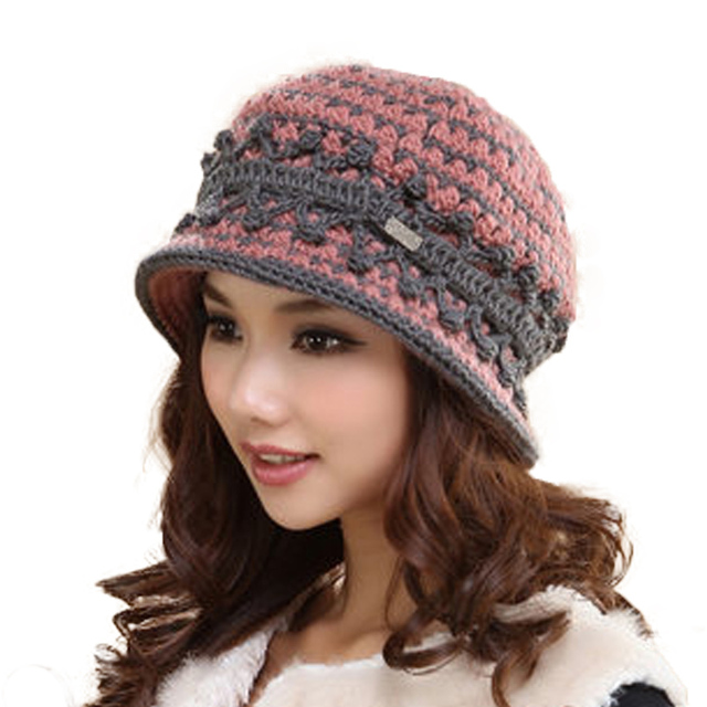 Winter Wool Warm Hat Short Brim Casual Caps For Women 2