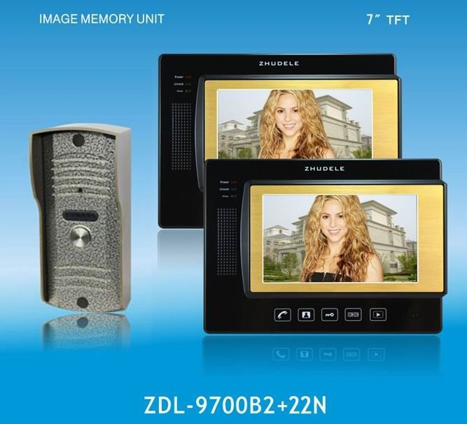 ZHUDELE Home Protection 4-wires 7 luxury color video door phone,CCD camera waterproof ,touch screen,taking photo ,nightvision