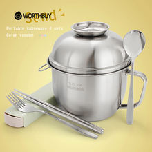 WORTHBUY 304 Stainless Steel Bowl With Handle And Lid Induction Cooker Heating Rice Soup Noodle Bowl Food Salad Fruit Container