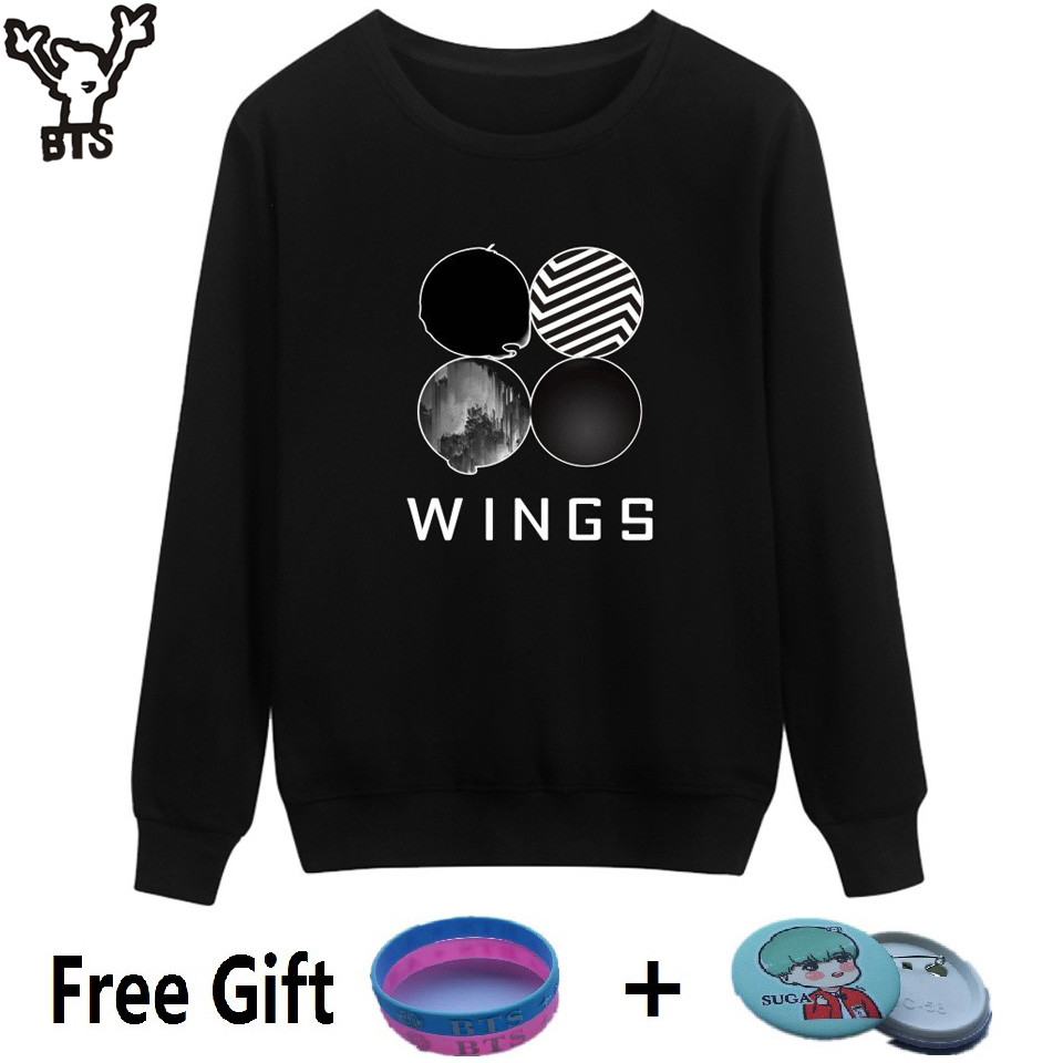 BTS Kpop Capless Sweatshirt Women Korean Popular Bangtan Autumn Winter Women Hoodies Sweatshirt Wings Hip Hop Female Fans Clothe