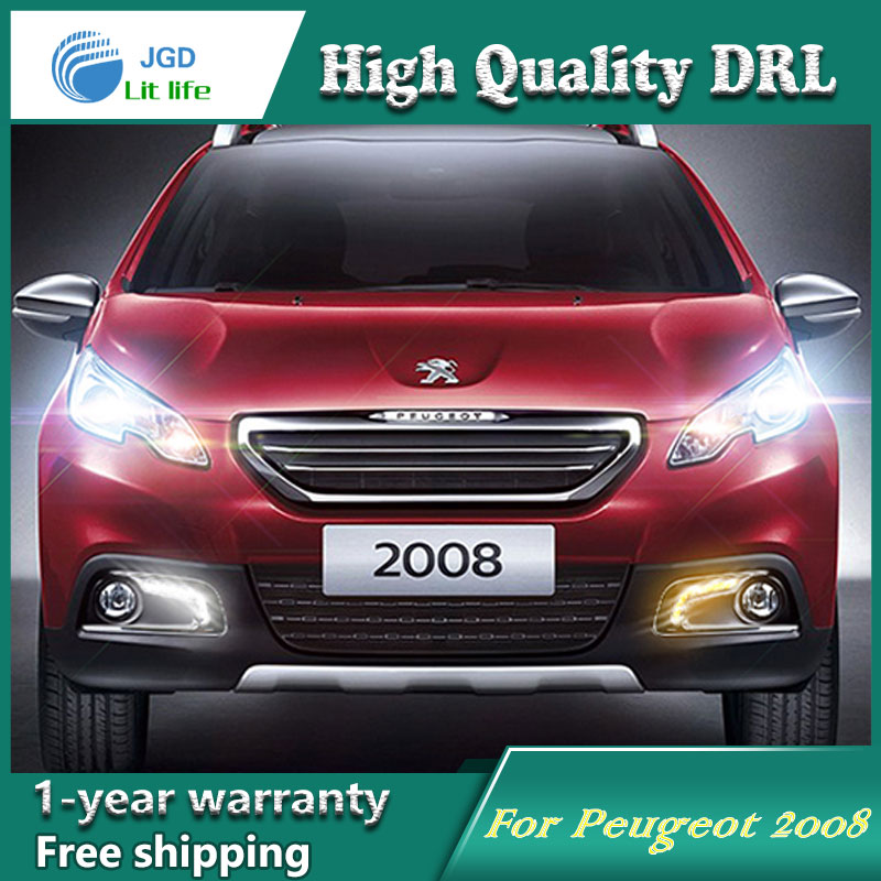 Free shipping !12V 6000k LED DRL Daytime running light case for Peugeot 2008 2014 2015 fog lamp frame Fog light Car styling free shipping 2pc lot car styling car led lamp bulb rear fog lamp for peugeot 308 ii sw 2014