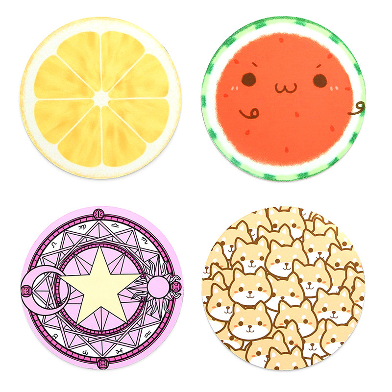 SIFREE 1PCS Mouse Pad Gamer Large Fruit Pattern 220 X 220 X 3mm Circular Rubber Mouse Pad Moon Cute Animal Drop Shipping