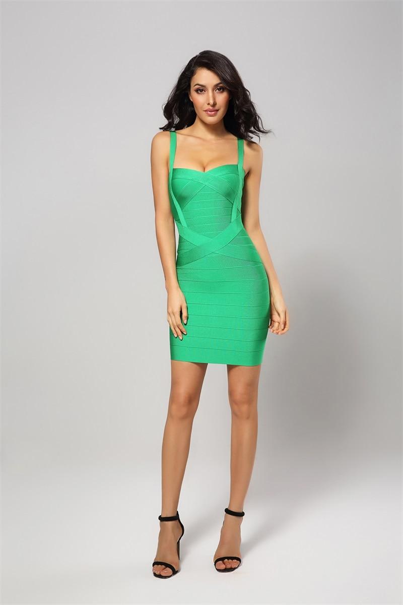 901f52b7c7a6a Leger Babe Runway Sexy Women Spaghetti Strap Summer Green Bodycon Fashion  Celebrity Party Slim Bandage Mini Dress Dropshiping