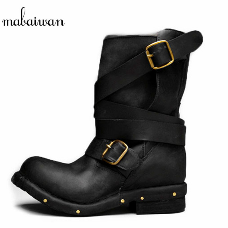 Mabaiwan New Buckles Ankle Boots Handmade Women Genuine Leather Flat Boots Retro Rivets Zapatos Mujer Shoes Woman Martin Boots mabaiwan handmade rivets military cowboy boots mid calf genuine leather women motorcycle boots vintage buckle straps shoes woman