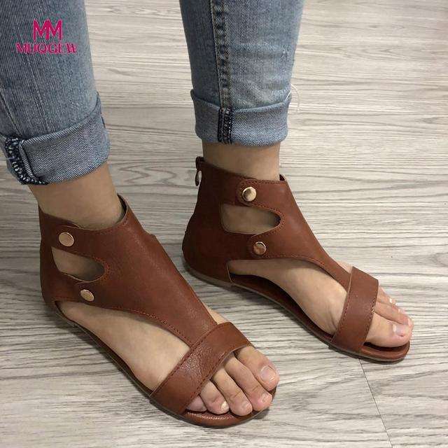 f2791fc20 2018 New Fashion Women Shoes Ladies Summer Roman Sandals Fashion Flat Roman Shoes  Female Casual Buckle