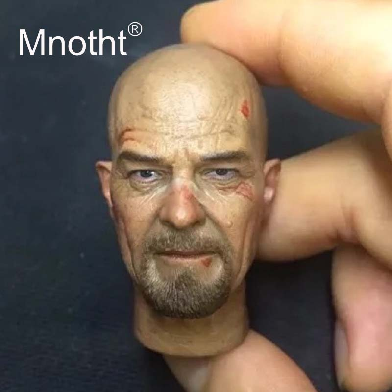 Mnotht Walter White Head Carving 1/6 Scale Male Soldier Resin Head Sculpt for 12inch Action Figure Toys TV Play Character Model image