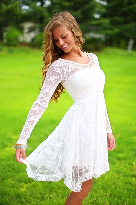 Short Country Wedding Dresses With Long Sleeves Crystal Neckline