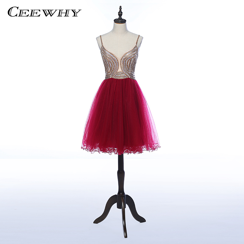 CEEWHY Spaghetti Strap Formal Party   Dress   Short Prom Gown Beading   Cocktail     Dresses   Vestidos de Coctel   Dress   for   Cocktail   Party