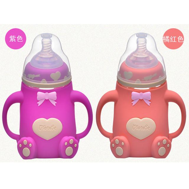 240 ml garrafa de cute baby infantil crianças recém-nascidas aprender beber alimentação alça garrafa garrafas de garrafas de água de crianças mamadeira do bebê