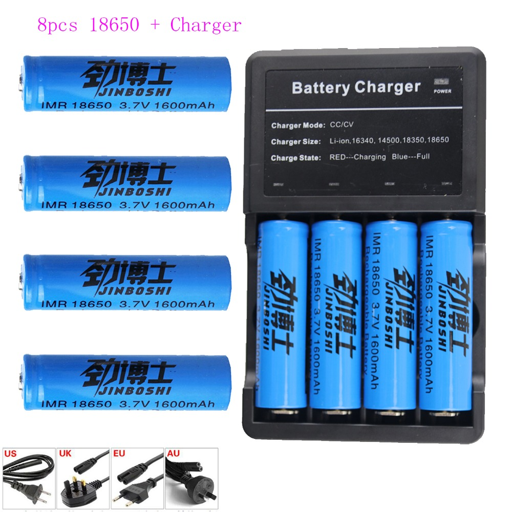 8pcs new battery 18650 3.7 V 1600MAH Li ion Rechargeable battery Flashlight batteries+ 1x 18650 16340 Charger