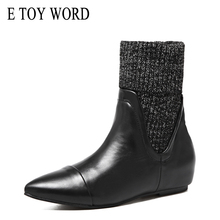 E TOY WORD 2019 Autumn Knitted Boots Women Ankle For women pointed toe flat heel boots Black Fur Botas Mujer