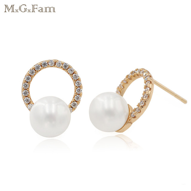 8940968db MxGxFam Smooth Pearl Stud Earrings for Women AAA+ Cubic Zircon Fashion  Jewelry Yellow Gold Color Hot