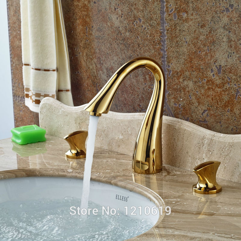 Newly Golden Polished Bathroom Basin Faucet Sink Mixer Tap Dual Handle Hot&Cold Water Tap Deck Mounted newly euro style luxury bathroom diamante basin faucet solid brass rose golden polished sink mixer tap single handle deck mount