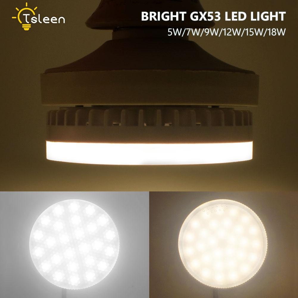 Оптовая продажа; 4 шт./лот GX53 45 35 светодио дный 3528 SMD 5 Вт 7 Вт 9 Вт 12 Вт 15 Вт 18 Вт 3000 К 6500 К теплый белый потолок вниз лампа светильник дешевые