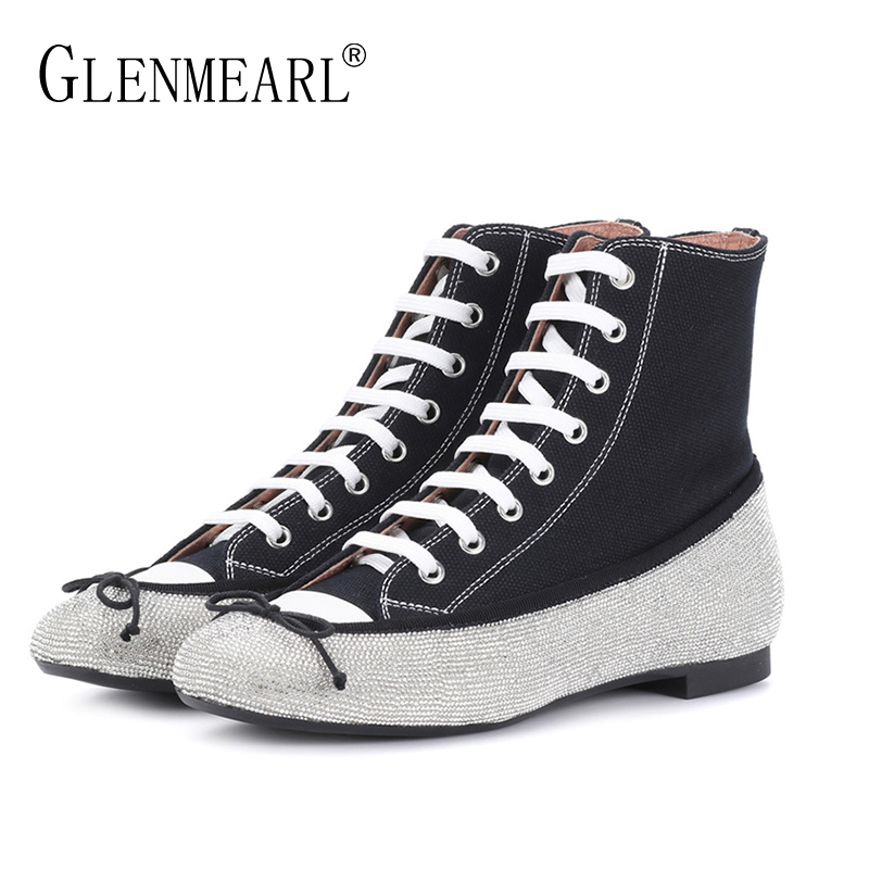 Canvas Women Flats Shoes Brand Spring Single Black Woman Sneakers Rhinestone Lace Up Female Casual Ankle Shoes Plus Size DE