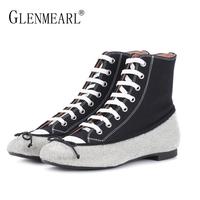 Canvas Women Flats Shoes Brand Spring Single Black Woman Sneakers Rhinestone Lace Up Female Casual Ankle