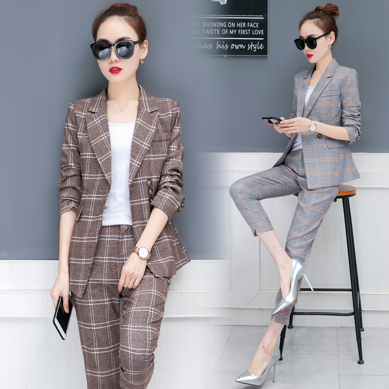 8fb5efe6e5f korean fashion suit office lady grid 2018 spring new women s leisure two  piece clothing set business blazer top pants plaid -in Women s Sets from  Women s ...