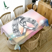 цена на Valentine's Day Romantic 3D Tablecloth Dustproof Bedside Cabinet Cloth Tasteless Customize Wedding Ring Table Cloth Tapestry