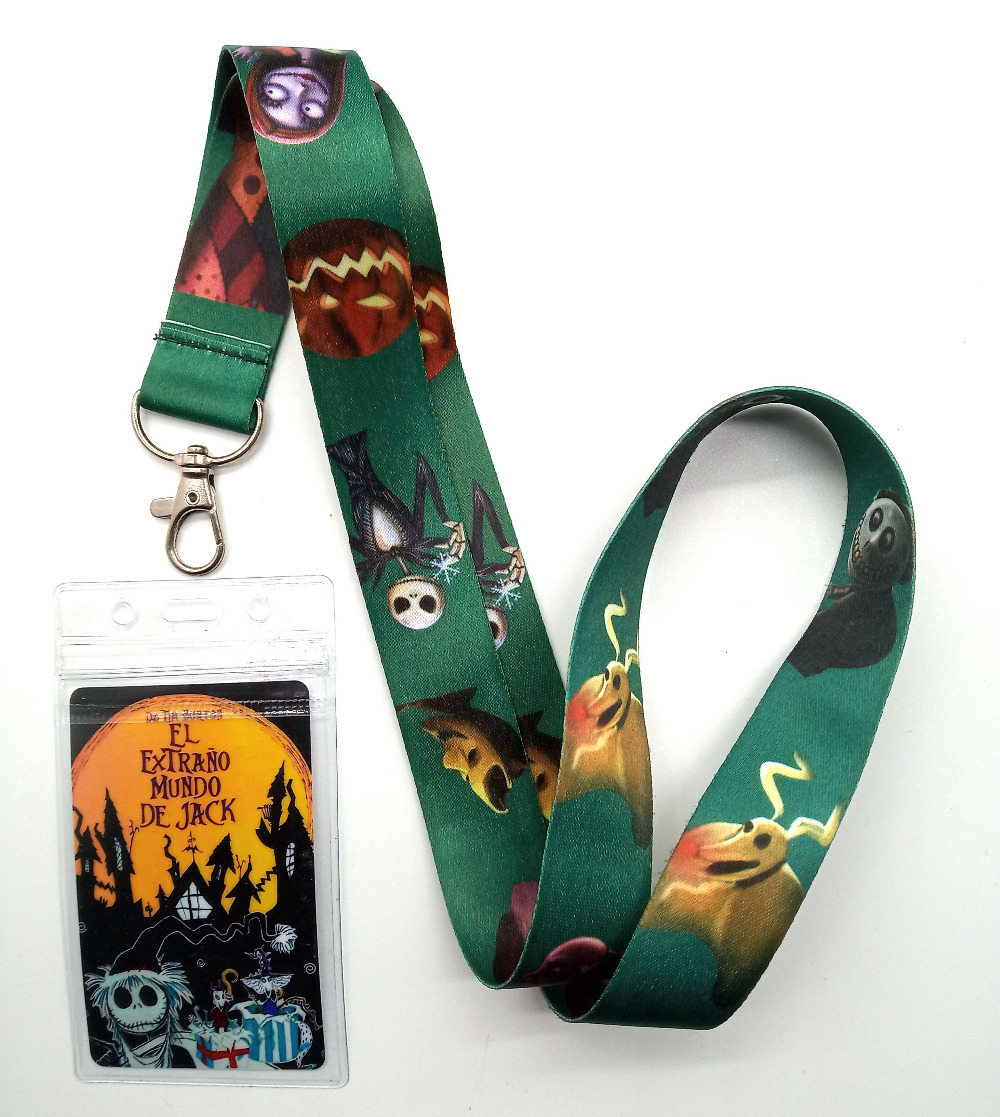 1pcs Nightmare Before Christmas Neck Strap Lanyards Card Holders Bank Neck Strap Card Bus ID Holders  Rope Key Chain Gift NN21