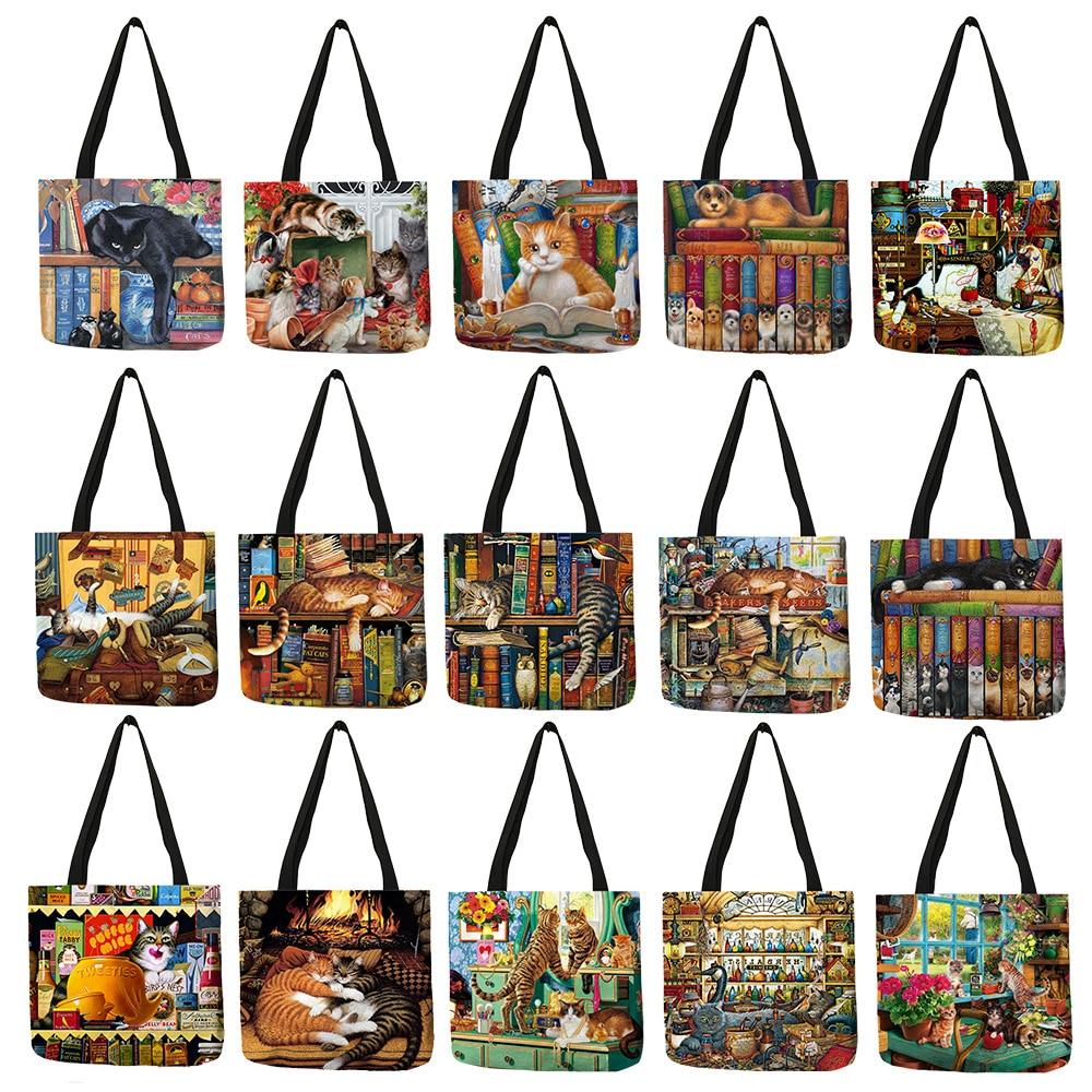 Popular Hand Bags For Women 2018 Naughty Bookshelf Cat Printing Totes Eco Linen Large Capacity Casual Practical Shoulder Bag