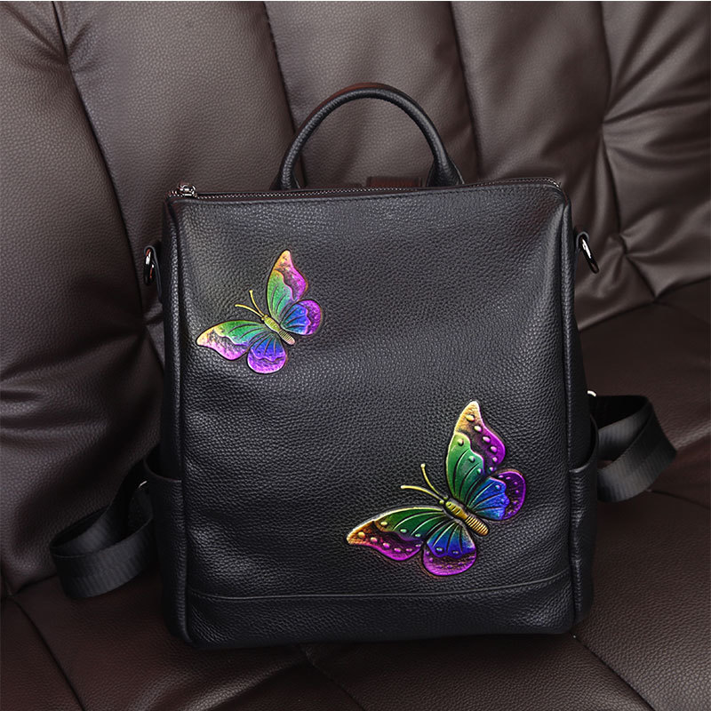 New leather backpack first layer of leather fashion Korean butterfly embroidery printing college ladies backpack butterfly patches faux leather backpack