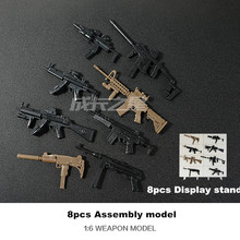 1:6 Toy Model Gun 8pcs/lot Display Stand For Free MP7 Assault Rifle Submachine Gun Carbine Plastic Assembly Toy Guns Kids Gift