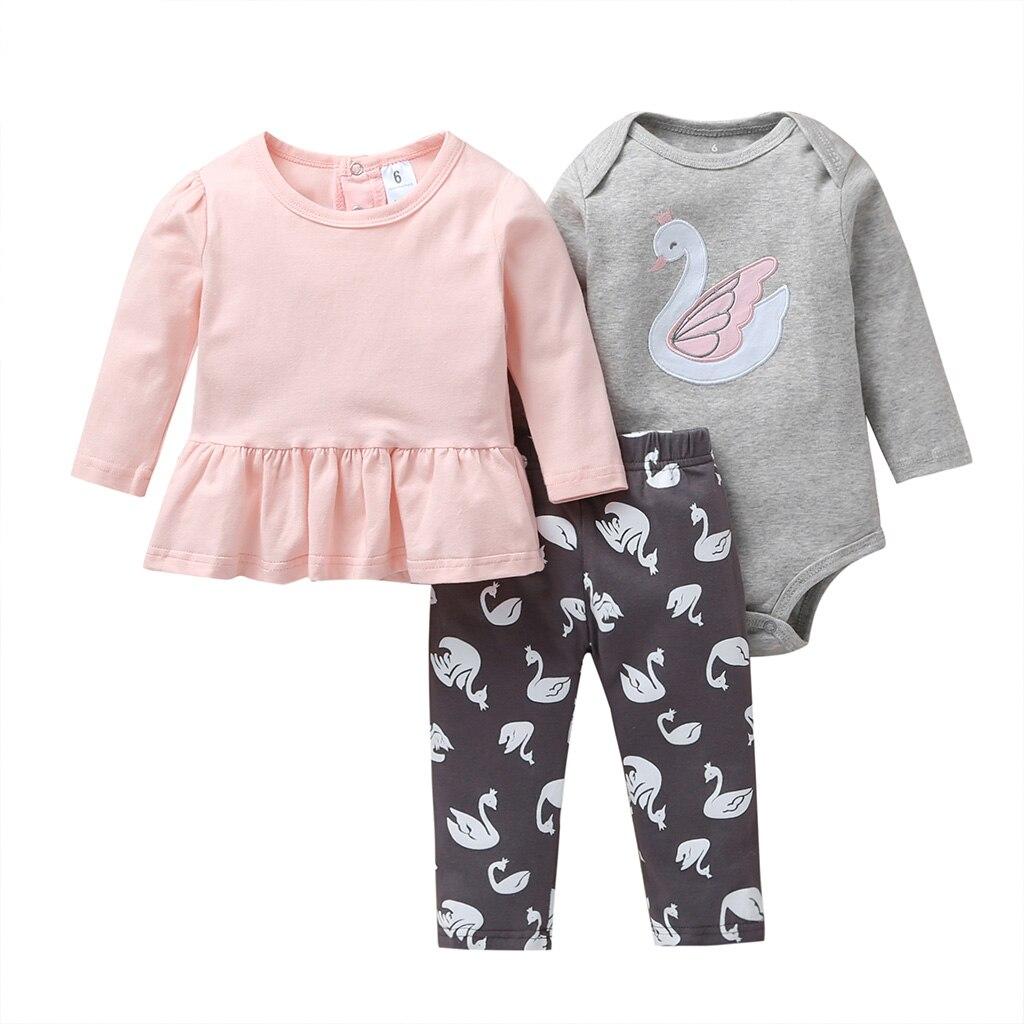 Осенняя одежда для маленьких девочек розовая футболка платье + комбинезон + штаны комплект одежды с длинными рукавами для новорожденных, 2020 г. Одежда для новорожденных с лебедемКомплекты одежды   -