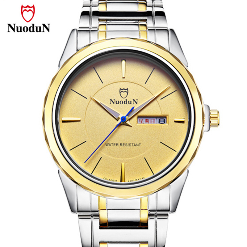 Fashion Nuodun Casual Quartz Watch Men Top Brand Luxury Stainless Steel Band Relogio Masculino Gold Wristwatches Mens Watches misscycy lz the 2016 new fashion brand top quality rhinestone men s steel band watch quartz women dress watch relogio feminino