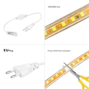 Image 4 - Super Heldere SMD2835 Dimbare 220V Led Strip Licht 1M 25M Keuken Outdoor Tuin Backlight Lamp Tape lint Guirlande Met Eu Plug