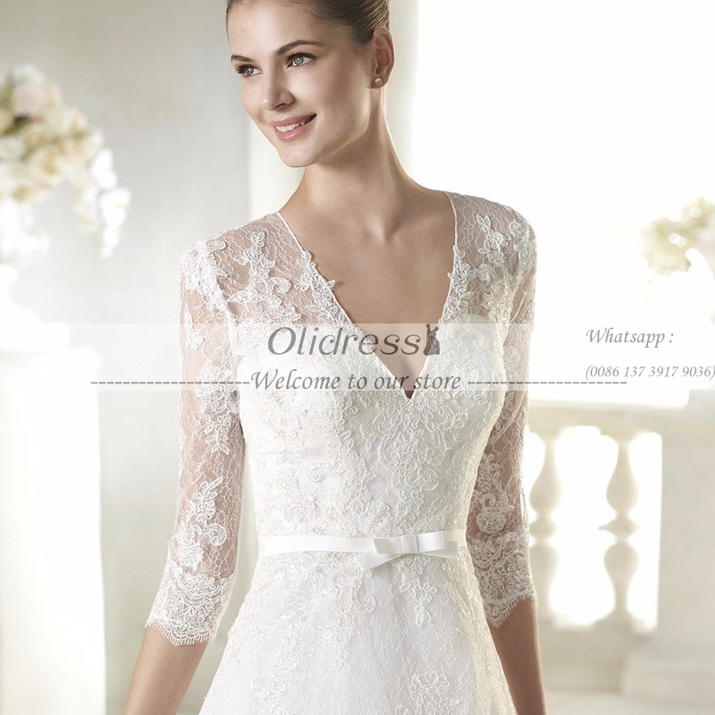 Half sleeve v neck white lace simple short wedding dress bridal half sleeve v neck white lace simple short wedding dress bridal gown with sash vestido de noiva in wedding dresses from weddings events on aliexpress junglespirit Images