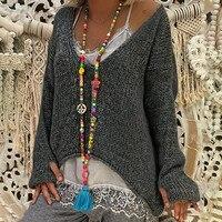свитер женский Для женщин теплые Свитер с V-образным вырезом одноцветное Цвет Свитер с длинными рукавами Повседневное вязаный свитер с v-обр...