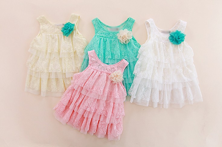 Baby Girls Lace Dresses Princess Children Clothing For Autumn -Summer Kids Flower Tutu Dress 4 Colors New 2017 ZC2 H2 2016 summer children s clothing champagne girls tutu dress for party lace layer back hollow kids dress for baby girls a121