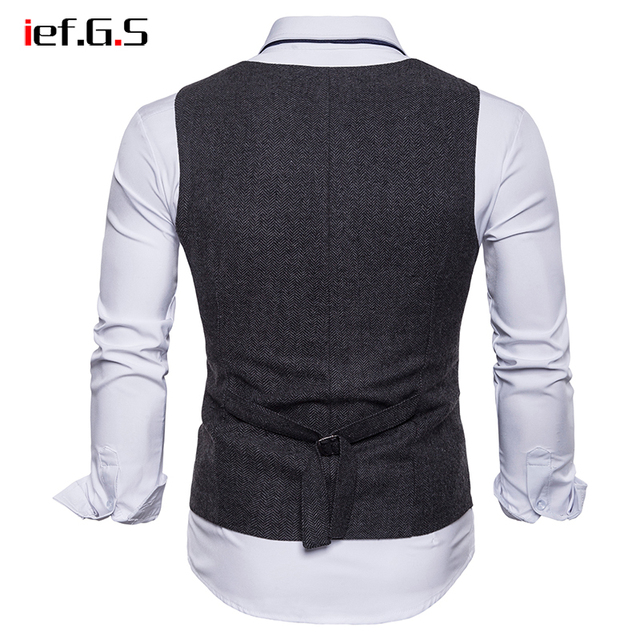 IEF.G.S 2018 Brand Suit Vest Men Jacket Sleeveless Beige Gray  Vintage Tweed Vest Fashion Spring Autumn Plus Size Waistcoat